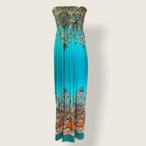 Venus boho strapless maxi dress.